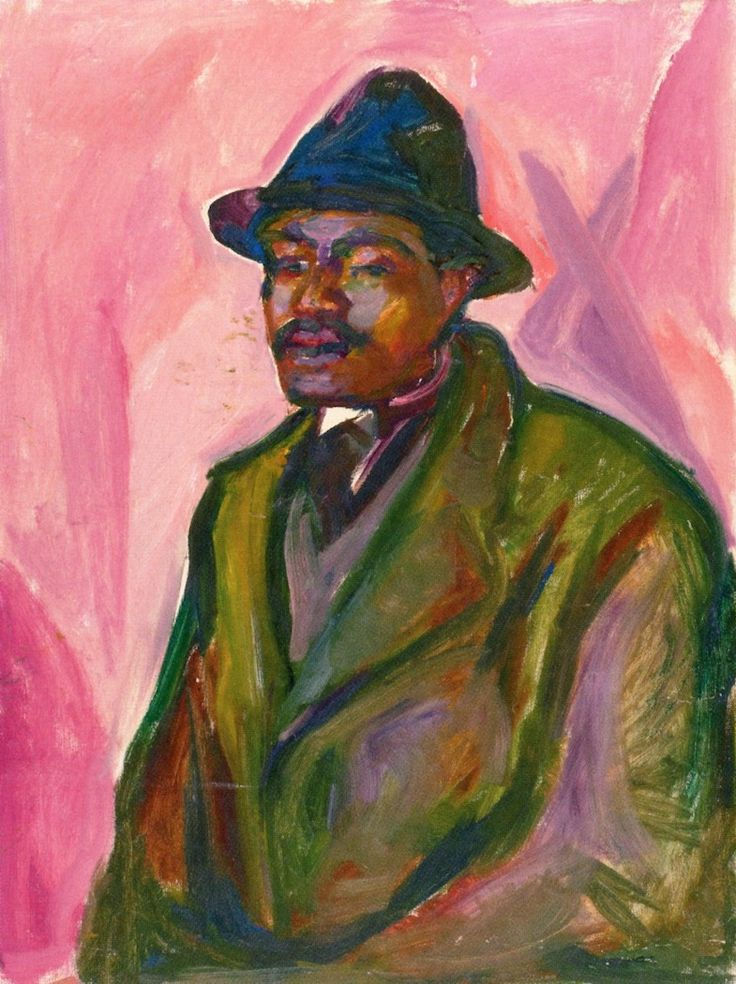 edvard munch(1863-1944), african in green coat, 1916-17. oil on canvas, 89.5 x 67 cm. munch-museet, oslo, norway http://www.the-athenaeum.org/art/detail.php?ID=91008