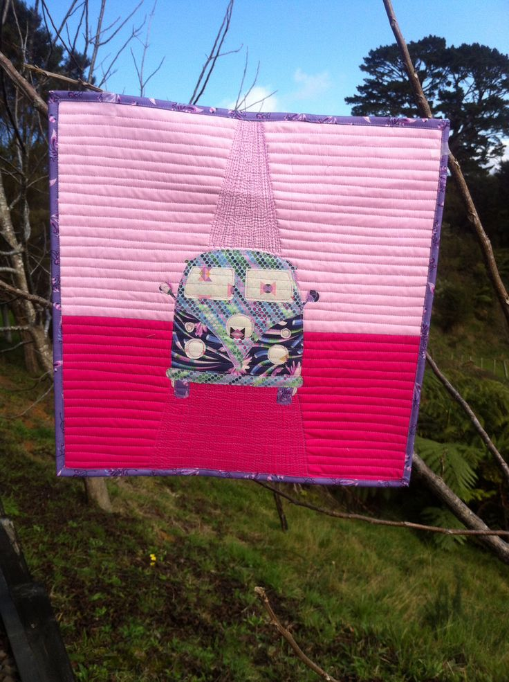 Mini quilt - using Tula Pink's VDub pillow cover.