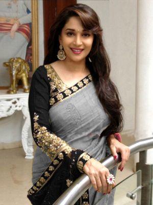 Madhuri Grey Bollywood Designer Beautiful Sarees Bollywood Sarees Online on Shimply.com