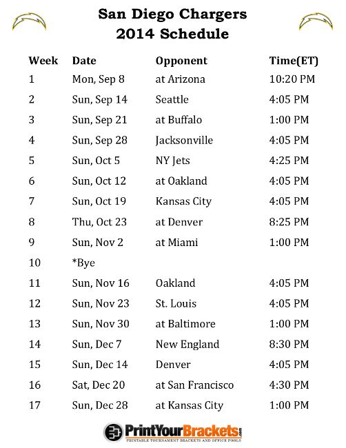 Printable San Diego Chargers Schedule - 2014 Football Season
