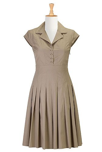 1950s , 50s style, A-line, below-knee-length, borrowed-from-the-boys, business-casual, cinched-waist, cotton, day, fall, fashion, feminine, festive, fifties-style, fit-and-flare, fit-and-flare-dresses, for-women, full-skirt, fun, holiday, ladylike, modest, notch-collar, plus-size, poplin, retro, romance, set-in-cap-sleeve, shirtdresses , side-zip, solid, v-neck, work,dresses