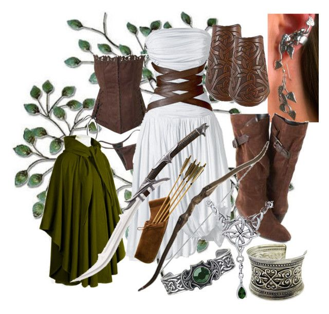 """Elven Huntress"" by cujokitten ❤ liked on Polyvore featuring WALL, CÉLINE, Nine West, INC International Concepts, Fantasy Jewelry Box, Carolina Glamour Collection, DC Shoes and MAC Cosmetics"