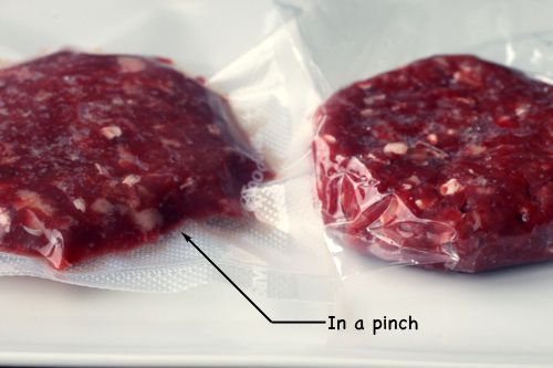 dip-in-water technique—an ingeniously simple method Essentially, you place your food in a plastic zipper-lock bag, close up all but the very edge of the seal, then slowly dip it into water, pressing the air out as you go, keeping the sealed corner out of the water for as long as possible. Once your food is almost fully submerged, you zip up the last bit just before it reaches the water level. You're left with food in a nearly airless bag, but with very little compression.