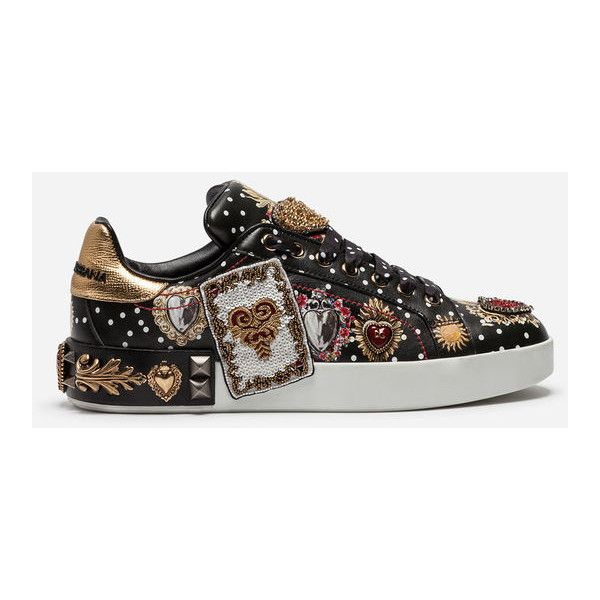 Dolce & Gabbana Calfskin Sneakers With Embroidery and Appliqués ($1,195) ❤ liked on Polyvore featuring shoes, sneakers, multicolor, multi color sneakers, calfskin leather shoes, dolce gabbana trainers, multicolor shoes and embroidered sneakers