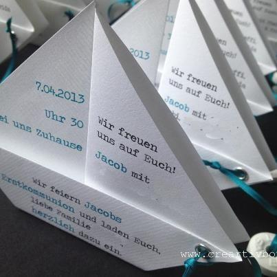 Einladungskarten - Einladung Konfirmation/Kommunion - PAPIER.BOOT 2 - ein Designerstück von creartivbox bei DaWanda