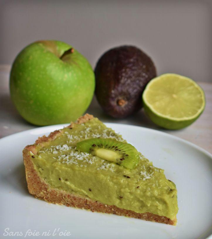 Tarte magique kiwi coco pomme verte sans cuisson