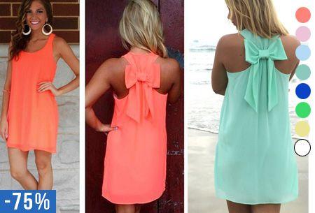 Een schattig cocktail jurkje of iets luchtigs voor naar het strand. Op het eerste gezicht lijkt dit een simpel jurkje, maar de leuke strik op de achterkant maakt dit jurkje uniek en feestelijk! #zomer #feest #korting #jurk #schattig