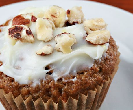 Carrot cake cupcakes, made with white whole wheat flour.