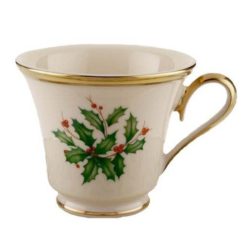 Savor the beauty of a festive china cup, decorated with the Holiday holly and berries motif. It's a lovely complement to Holiday dinnerware, a lively accent to any table, and an elegant holiday gift.