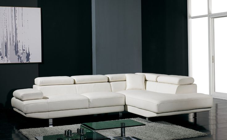 White Leather Sectionals Modern