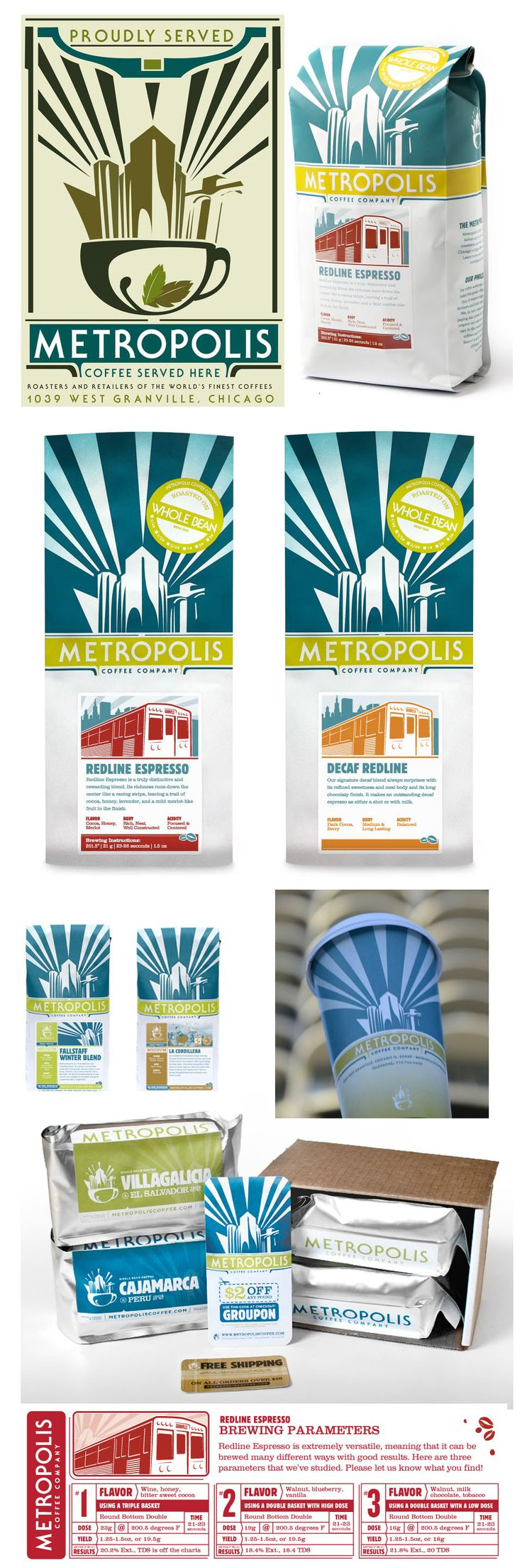 Coffee packaging and branding for Metropolis Coffee of Chicago by Design Scout