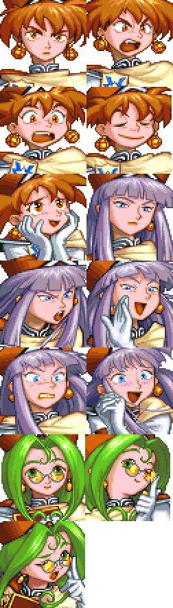 Grandia (1997, PS1) - Saki, Nana, Mio