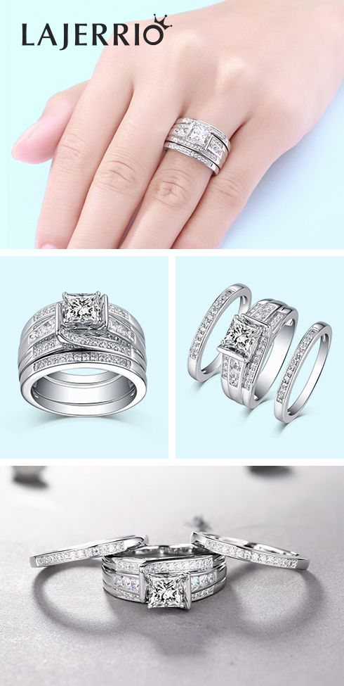 b65f6ade2abaeb Lajerrio Jewelry Engravable Princess Cut 925 Sterling Silver White Sapphire  3 Piece Ring Set #Rings