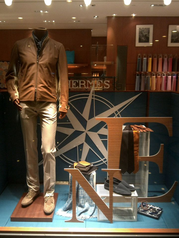 Hermes window display, Jakarta visual merchandising