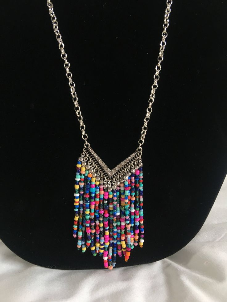 Happy Friday!  Cheerful vibes in my #etsy shop: Silver necklace with rainbow chevron #jewelry #necklace #rainbow #chevron #beaded #slatehilldesign #silver
