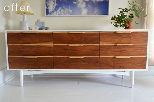 Love this mid-century/Danish credenza makeover.  Looking for something like this to redo for my house!