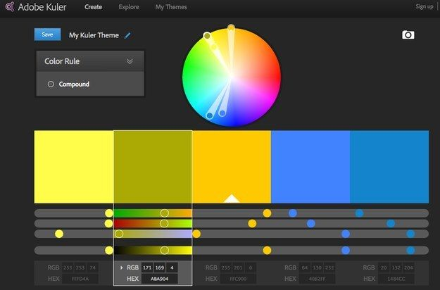 Adobe Kuler - Find complementary color palettes with this Adobe color wheel. https://kuler.adobe.com/create/color-wheel/