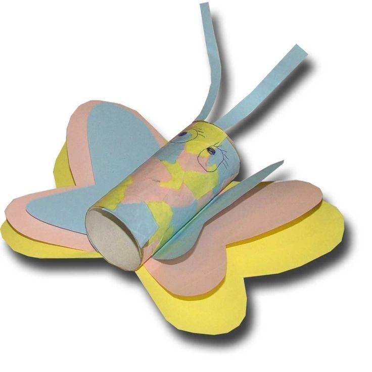 Schmetterling aus Papier und Klopapierrolle mit Kindern basteln