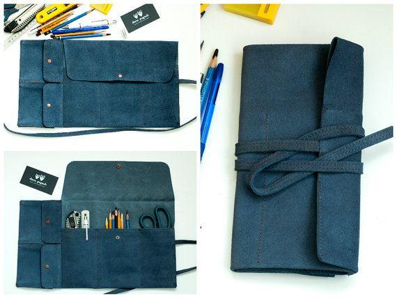 Pencil Case Roll blau Wildleder Bleistift von dariapugach auf Etsy