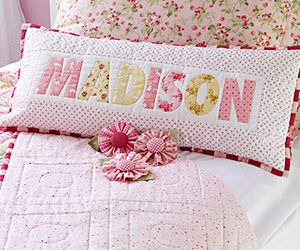 Any child would be all smiles with this delightful name pillow. This just for you name pillow goes together quickly by starting with a preprinted alphabet fabric panel.