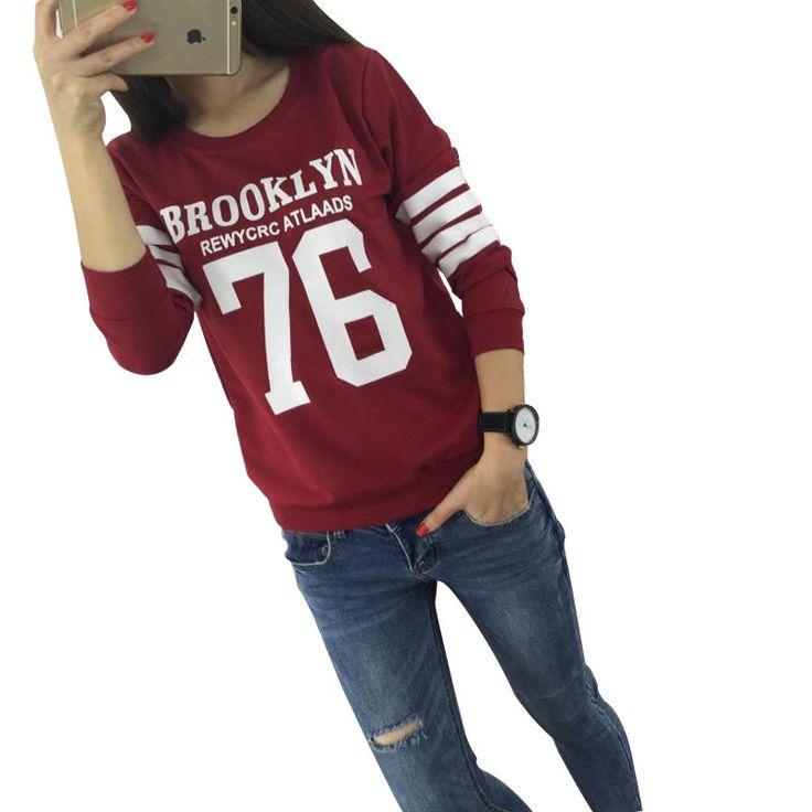Fashion Harajuku Style Hoodies Sweatshirt Truien Women Crewneck BROOKLYN 76 Printed Hoody Tracksuit Chandal Mujer