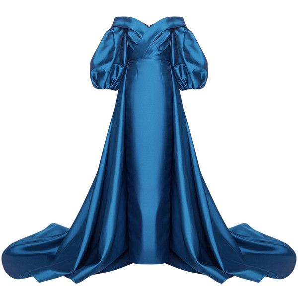 Mark Bumgarner Anna Gown (81.054.025 IDR) ❤ liked on Polyvore featuring dresses, gowns, navy, navy gown, navy blue dress, blue ball gown, blue gown and blue off the shoulder dress