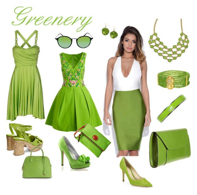 Greenery by anjavernelen on Polyvore featuring Notte by Marchesa, Versace Jeans Couture, Miu Miu, Gianvito Rossi, Hermès, Dooney & Bourke, Ray-Ban, 1928, Fabulicious and Valextra