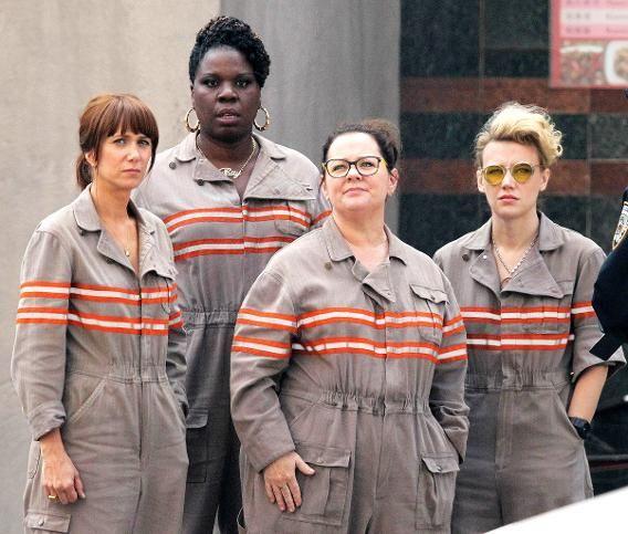 Kristen Wiig, Leslie Jones, Melissa McCarthy and Kate McKinnon in their official 'Ghostbusters' uniforms.