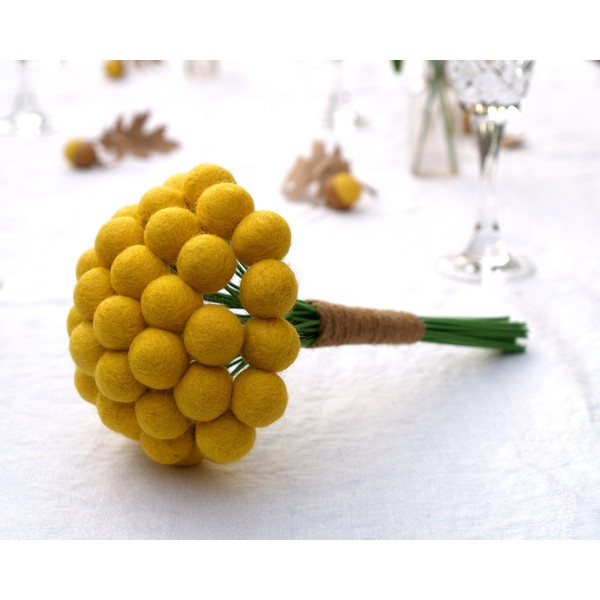 Craspedia Wedding Bouquet Bride Bridal Posy Yellow billy button ball flower felt pom pom floral arrangement dried Spring Summer ($50) found on Polyvore
