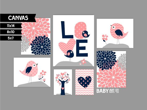 Coral Grey and Navy Girl Nursery canvas art by babyartprints