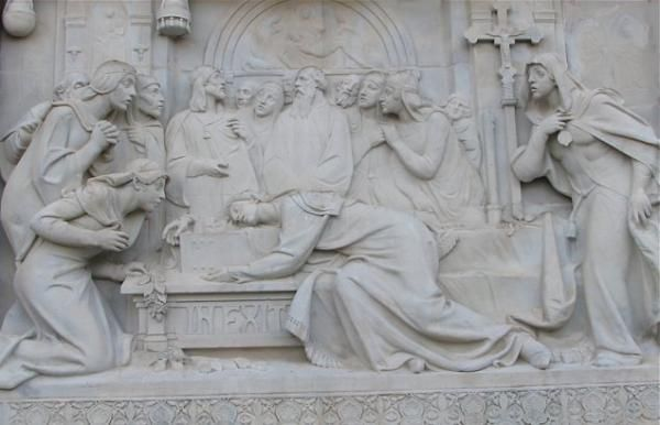 Escalinata, Teruel,. Representación de la escena de los Amantes de Teruel