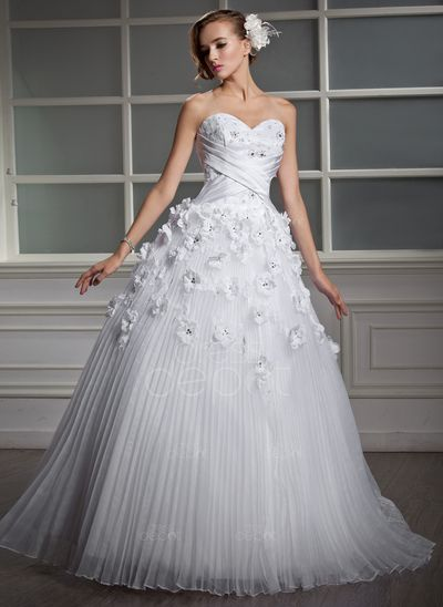Ball-Gown Sweetheart Floor-Length Organza Satin Wedding Dress With Lace Beading Flower(s)  Wedding Dress Wedding Dresses #WeddingDress #WeddingDresses