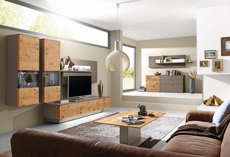 Gwinner wohnwand vione in lack fango seidenmatt for Sideboard fa r wohnzimmer