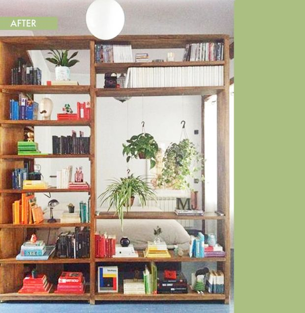 thesadeyedgirl bookcase with hanging plants!