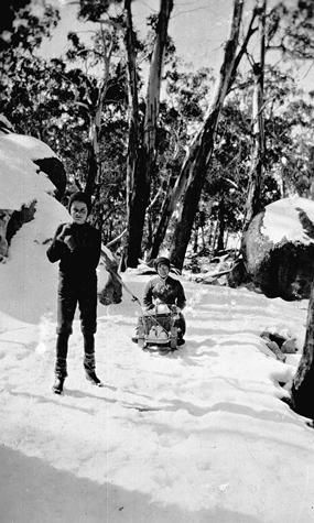 Boy pulling woman on a sled, Mt Buffalo. Circa 1910. (Genevieve Baumgarten album. Guide Alice's daughter. Museum Victoria Collection.