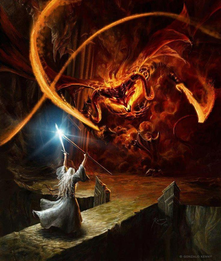 Gandalf battling the Balrog in Moria