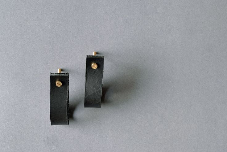 lade 1 black leather pull / leather drawer pulls leather