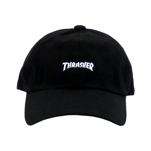 THRASHER WASH CAP BLACK ($40) ❤ liked on Polyvore featuring accessories, hats, headwear and cap hats