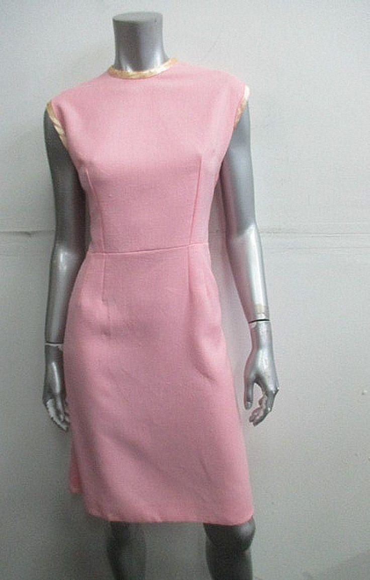 vintage 1960s carnation pink debutante sheath dress sz l