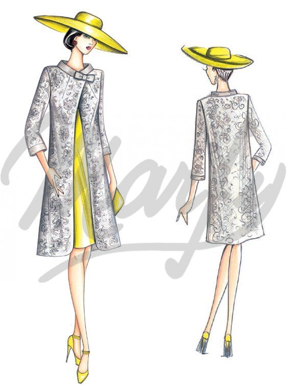 Fabric required about mt 2 10 wide 1 40 Available from size 42 to 50 Vintage-look A-line overcoat with mock neck featuring a bow at the side or jewelled button diagonal slit at the front central seam and ¾-length sleeves Suggested fabric lace faille shantung silk or damask weave