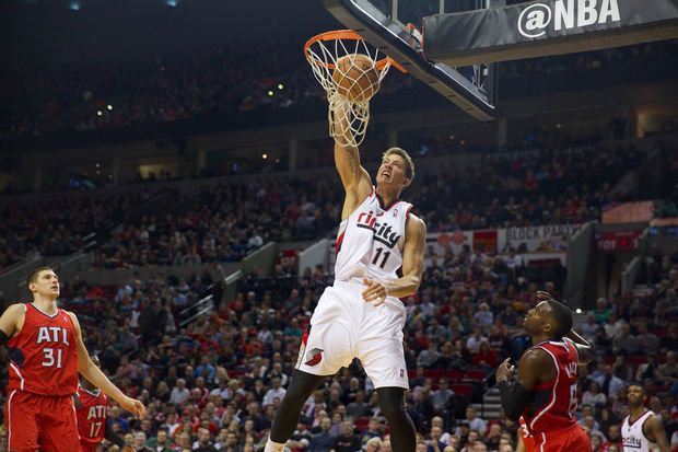 March 5, 2014-- Meyers Leonard for the dunk Wednesday at the Moda Center in Portland as the Trail Blazers hosted the Atlanta Hawks.