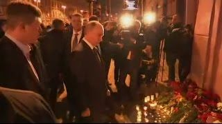 Latest News: Russian President #VladimirPutin Offers Floral Tribute To Metro Explosion Victims Of A Blast.  #Metro #Blast #WorldNews #Terrorattack
