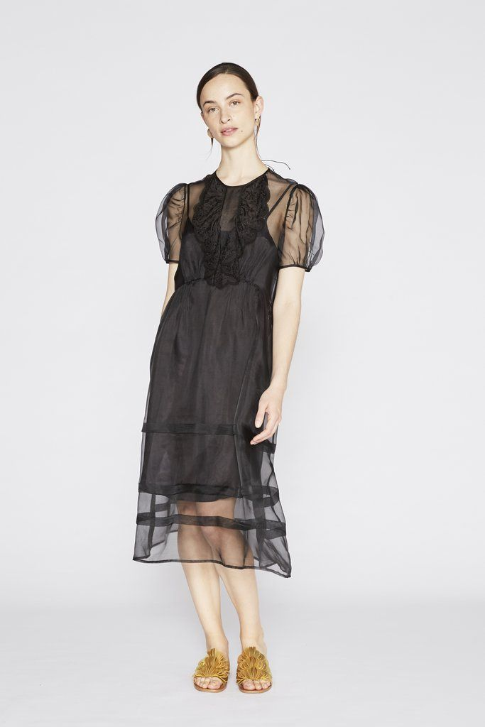 Silk Organza Ruffle Dress with Slip - Black
