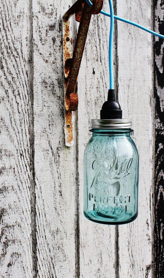 Mason Jar Light  Aqua Ocean Blue Sea Glass Modern by BootsNGus