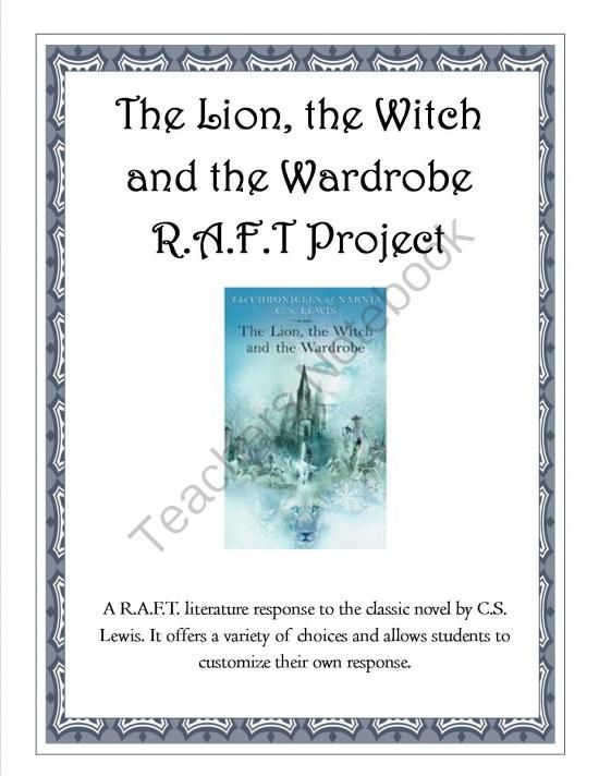 The Lion, the Witch and the Wardrobe Quizzes and R.A.F.T. Project from ThePassionateTeacher on TeachersNotebook.com -  (24 pages)  - This is a 24-page literature unit on The Lion, the Witch and the Wardrobe by C.S. Lewis that includes 4 multiple choice chapter quizzes(with answer keys) and a final R.A.F.T. project to complete the unit. They have been developed for use in a 3-5th grade