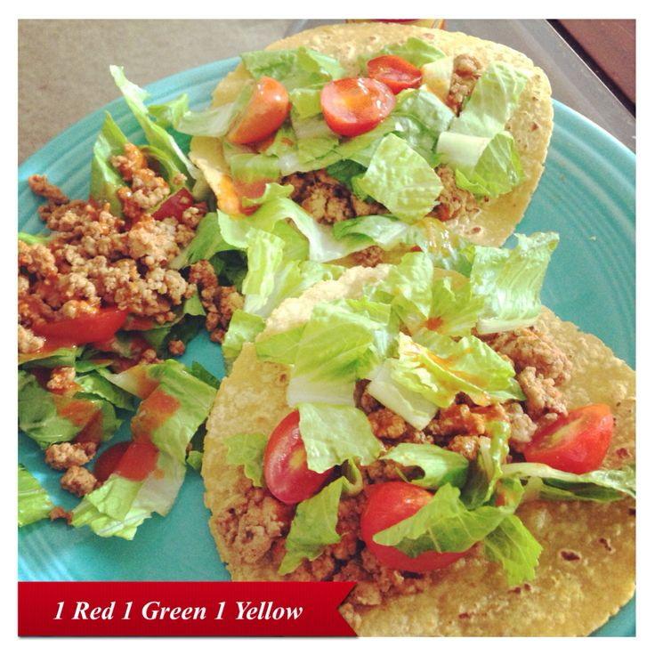 lunch! Tacos with a mini taco salad!! 1 Green(romaine and tomatoes) 1 ...