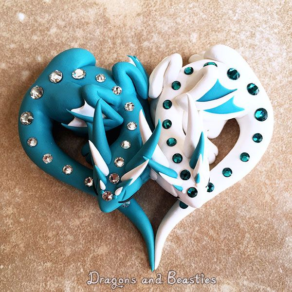 On a bit of a dragon couple kick at the moment. I love how this design turned out Handmade from Premo Sculpey clay ----------------------------------------- Commissions are CLOSED indefinitely, but...