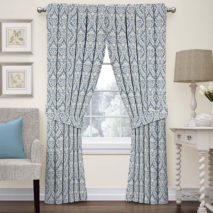 Waverly Donnington Damask Curtain, Blue