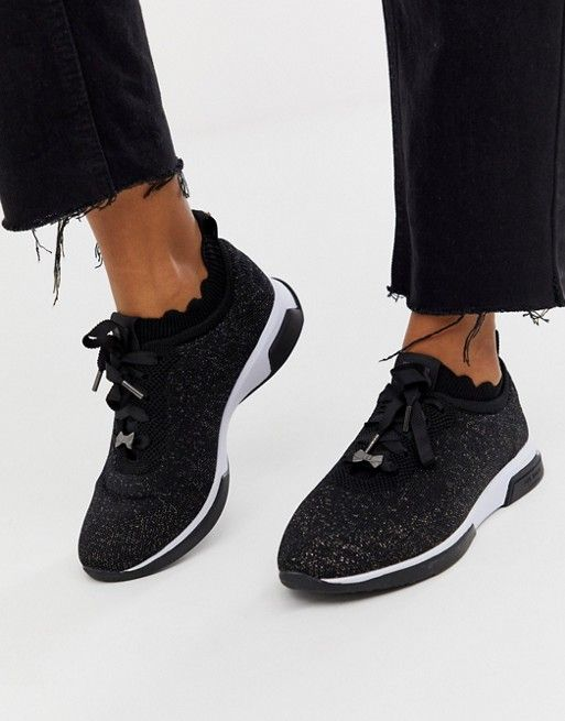 Ted Baker black sparkle knit trainers