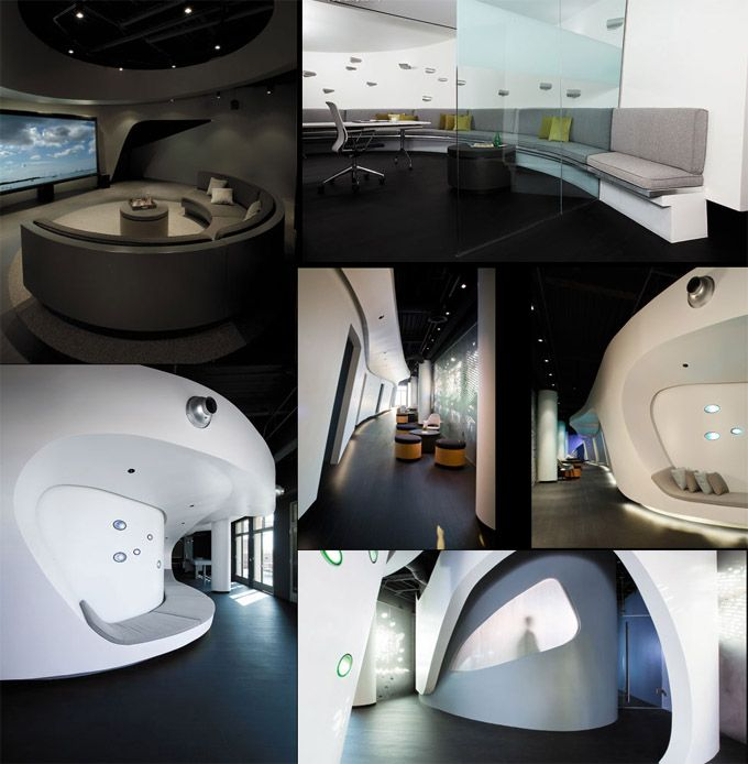 Patrick Tighe, of Tighe Architecture, designed this space-age LA office space for Moving Picture Company.